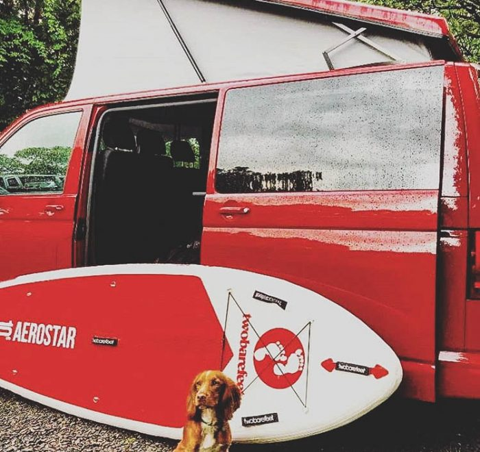 Campervan with dog and SUP